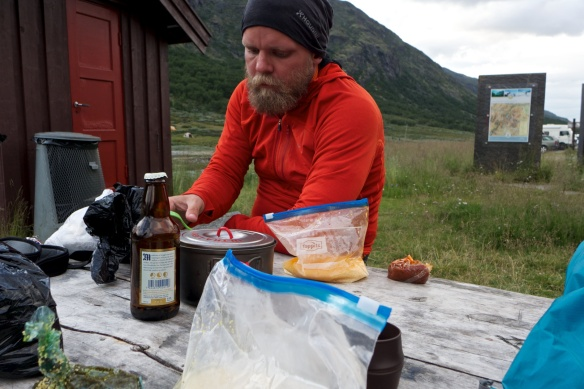 Adding some luxurious items after the hell-walk up Galdhøpiggen