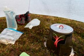 Breakfast in the tent, raining again.